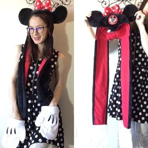 Minnie Mouse Fur Scarf Hat Ears Mickey Mouse Club